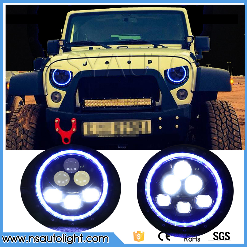 7'' 7inch blue Halo Super Bright 60w Round Led Headlight for Jk Tj Fj Cruiser Trucks Motorcycle For Jeep Wrangler Headlamp jk wrangler headlights 7 inch round led headlight conversion kit drl light assembly for jk tj hummmer trucks motorcycle headlamp