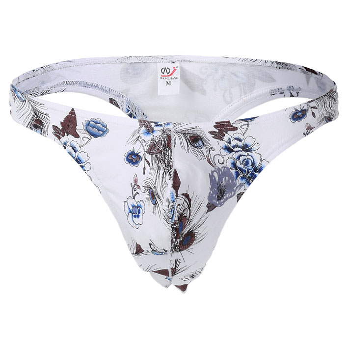 Buy Male Bikini Thong Panties Bikini Men Underwear Mens Sexy Cotton Plaid Floral G-string Thong Underwear T-back Gay Thong