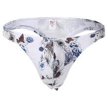 Male Bikini Thong Panties Bikini Men Underwear Mens Sexy Cotton Plaid Floral G-string Thong Underwear T-back Gay Thong цена 2017
