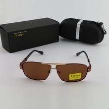 Txrppr Classic Men's Gold Metal Frame Brown Polarized Sunglasses Women Driving Eyewear Sun Glasses For Box
