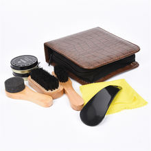 7 unids set zapatos zapato profesional Kit de herramienta del cuidado  zapatos brillo polaco limpieza suave cepillos de madera co. 87173262dbc1