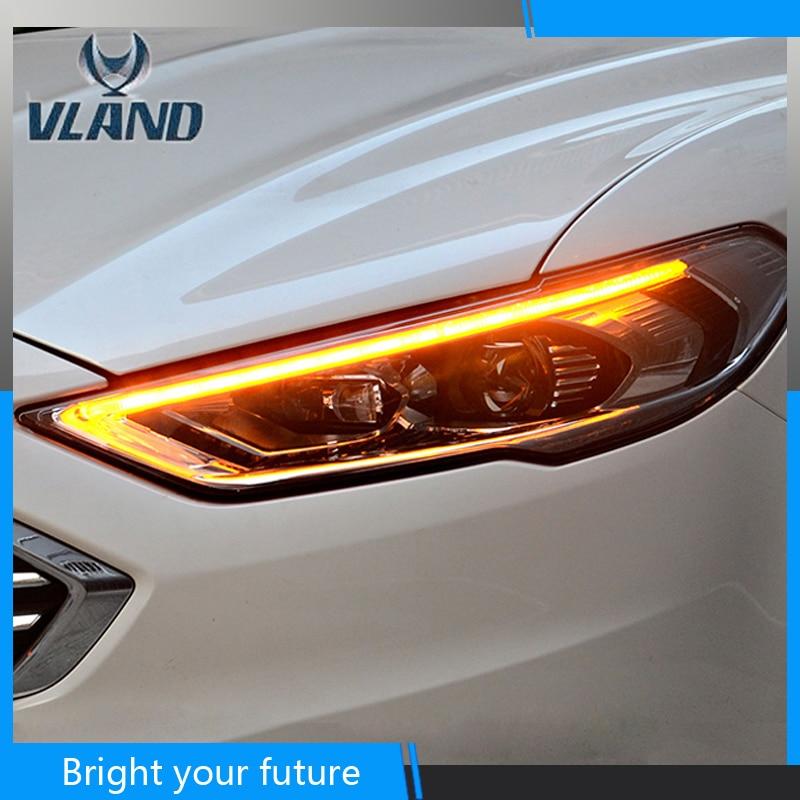 Frente Head Lamp Para Ford Mondeo Fusão LEVOU Faróis Projetor de Alta Feixe 2017 2018 DRL