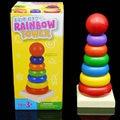 Envío libre pequeño rainbow tower, anillo del color 8 capas de bloques de construcción, capa sobre capa, juguetes de madera juguetes Educativos