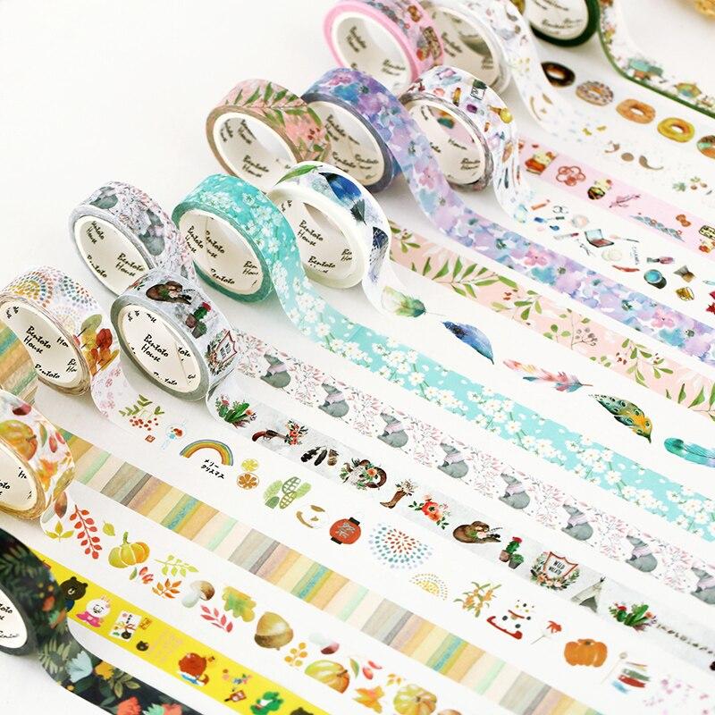 15mmx7m Seasons Color Flower Plants Washi Tape Adhesive Tape DIY Planner Scrapbooking Masking Tape 1pcs
