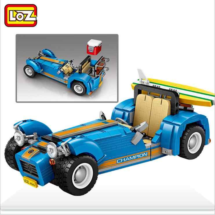 LOZ Mini bloques ciudad vehículo modelo de coche de carreras 2 en 1 estatuilla Asamblea juguetes de construcción para niños 1114 con valor de la colección