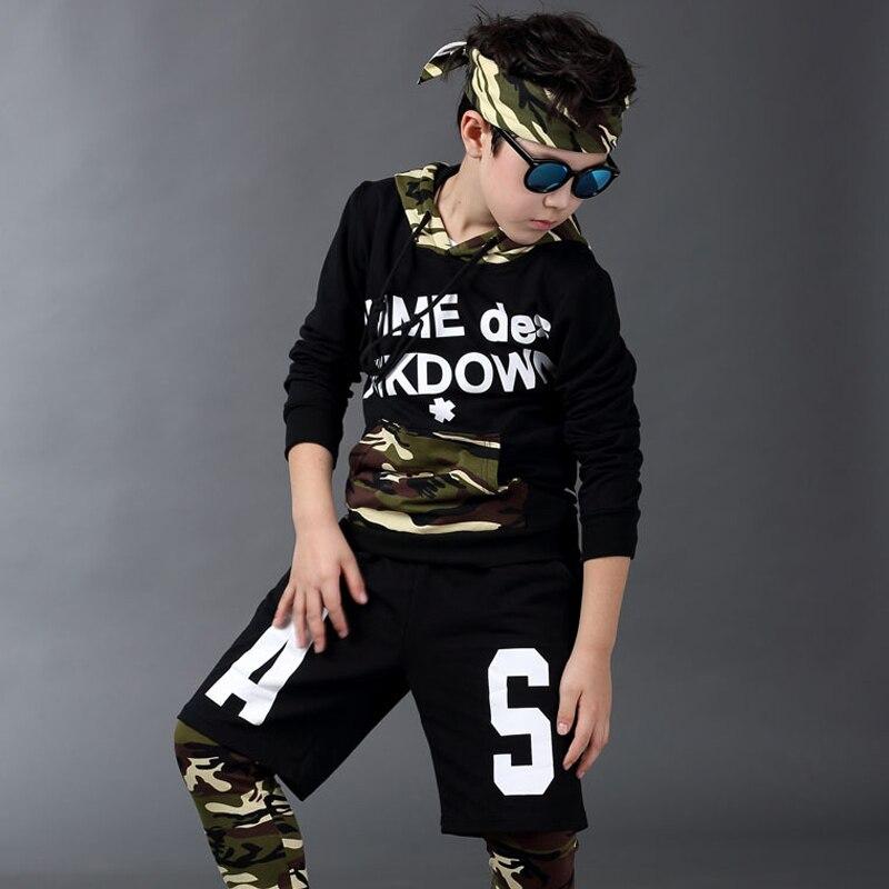 цена  Jazz dance boys clothes kids hip hop clothing Kids Suit Camouflage hooded Long Shirt + Pants Sweatshirt Casual Clothes 5-15Y  онлайн в 2017 году