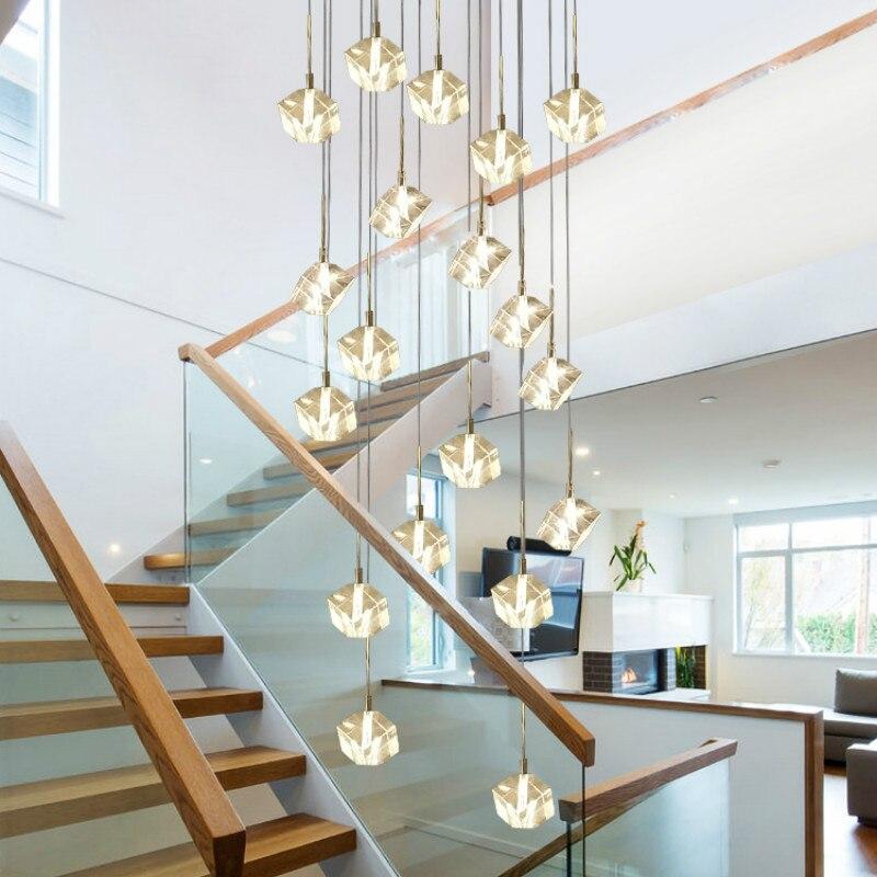 Custom creative crystal picking empty living room tier floor stairwell Pendant Lights simple duplex building lighting wf4261513