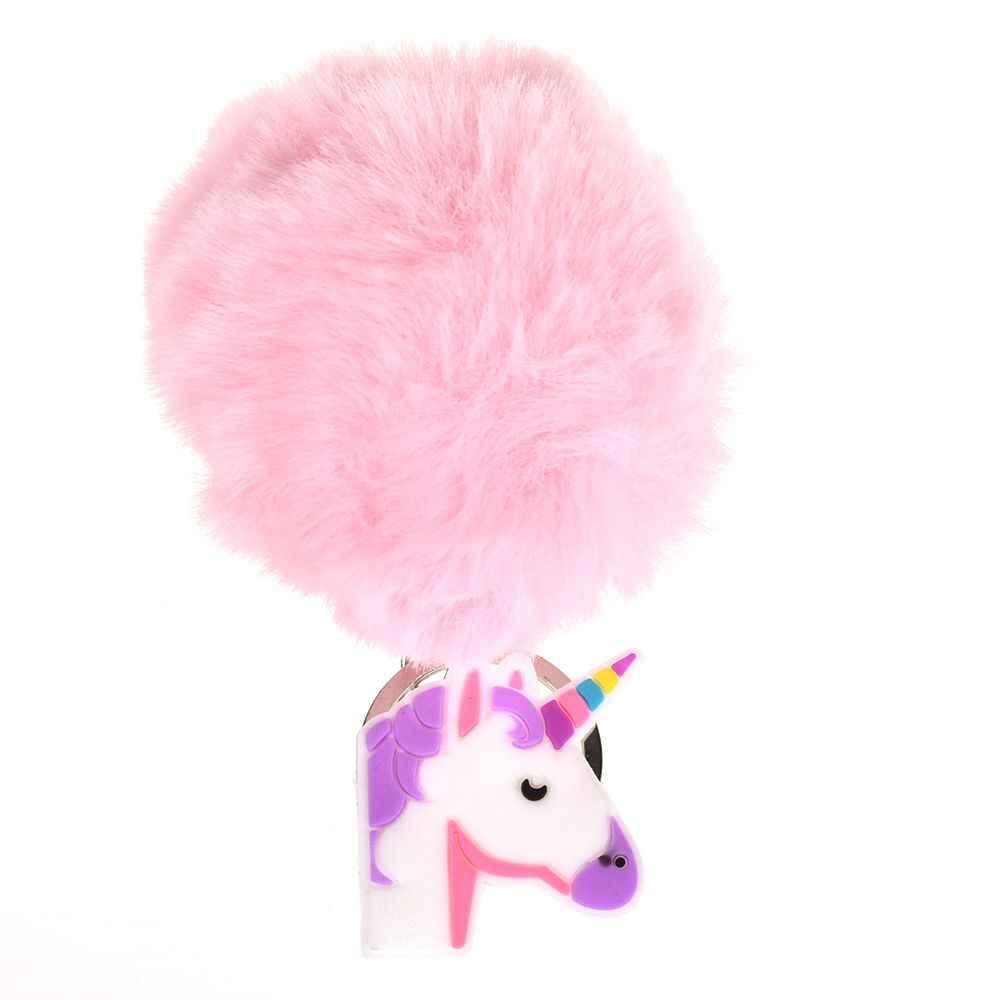 Alta Qualidade Anime Brinquedo Do Cavalo de Couro Bonito Unicórnio Brinquedo De Pelúcia Keychain Saco Chaveiro Pendurar Pingente Mulheres Fofo Pom Pom Pele brinquedo de pelúcia
