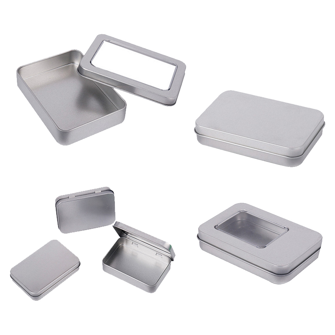 HIPSTEEN 88*60*18MM Tin Box Basic Rectangle Tinplate Box Coin Keys Storage Case Gift Box Silver ...