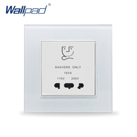 Shaver Socket Wallpad Crystal Glass 110V 250V EU UK Hotel Smart Home Glass Panel Shaver Power Wall Socket