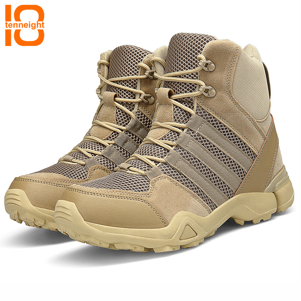 TENNEIGHT Men's Outdoor Boots Desert Military Tactical Boots breathable shock training combat boots climbing Hiking Shoes men цена