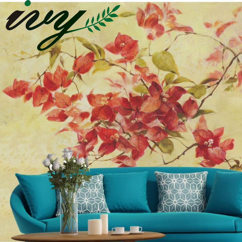 IVY MORDEN Oil Printing Flower Wallpper Art Wall Papers