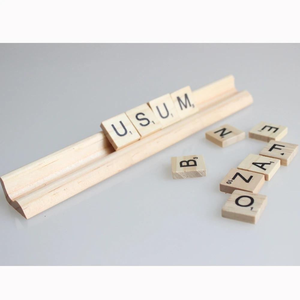 10 pieces wood scrabble tiles letters stand rules 19 cm length no letters