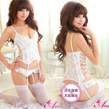 Sexy lingerie women hot sale new real cotton solid babydoll langerie full lace vest women underwear lingerie hot no stocking