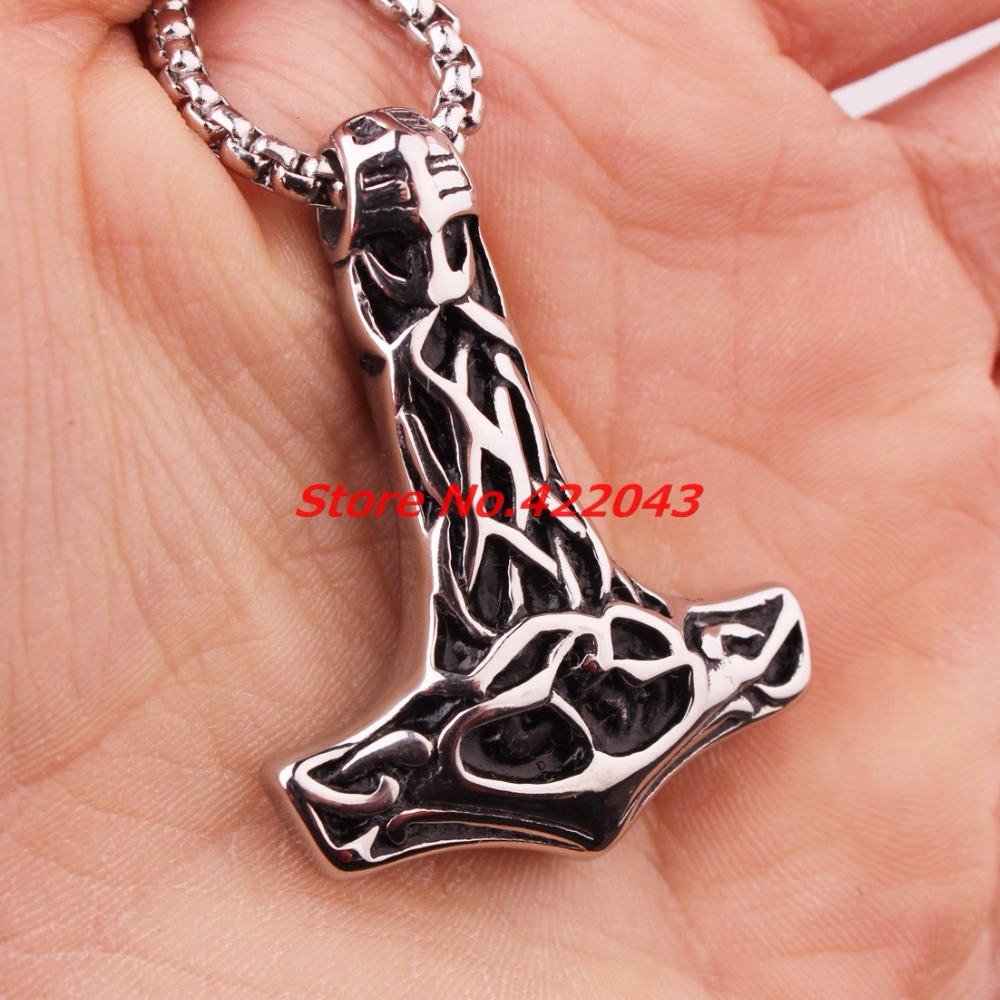 Punk collar Viking Thor Martillos Mjolnir Colgantes Acero inoxidable plata negro Martillos Colgantes Collar para hombre mejor regalo