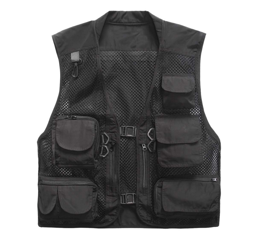 Plus Size Multi Pockets Vest Men Summer Mesh Breathable Photography Waistcoat Reporter Director Casual Vest Work Uniform VT-121