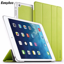 Easyacc For iPad 5 Clear PU Leather Case with stand / Auto Sleep Wake Air Tablet Notebook Silk Stand Smart Cover 9.7
