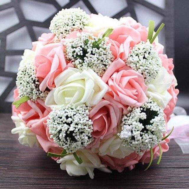 Five Colors Bridal Wedding Bouquet Handmade Pe Roses Buque De Noiva Flowers Bouquets Pristian