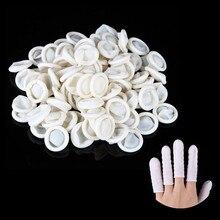 100Pcs White Nail Art manicure perdicure Latex Rubber Finger Cots Protector Gloves Tools