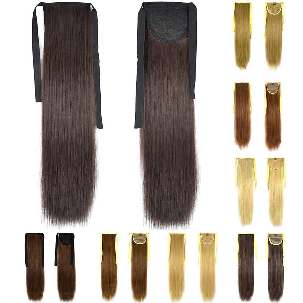Postiş Sentetik Klip Salon Uzun Düz Ponytails Yumuşak Moda saç ekleme Şerit Aksesuarları Kadın Peruk Doğal Günlük