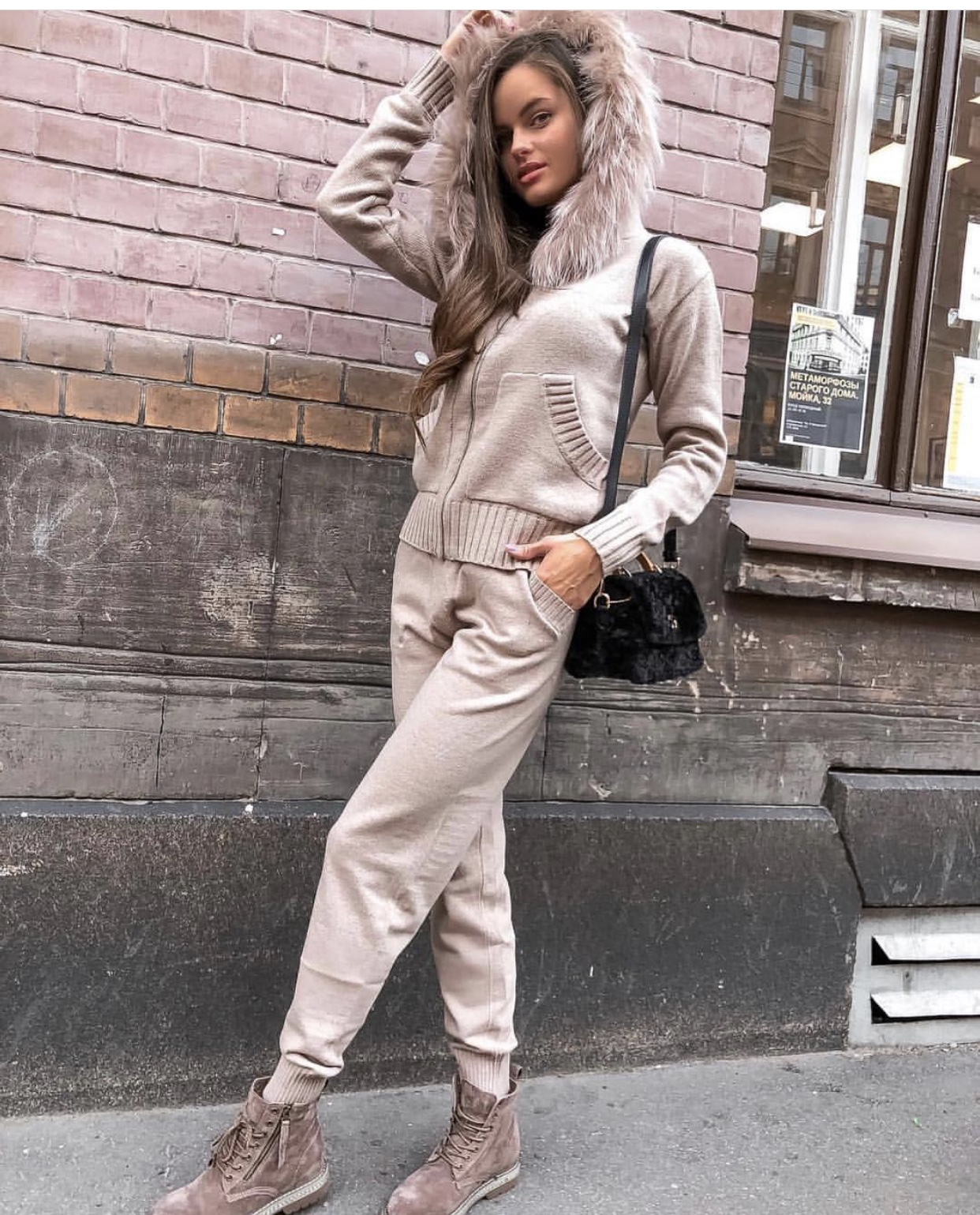 Women's Knitted Suit Zip Cardigan Sweater + Pants 2pcs Set Long Sleeve Pocket Knitted Tracksuit With Hood Women's Pantsuit