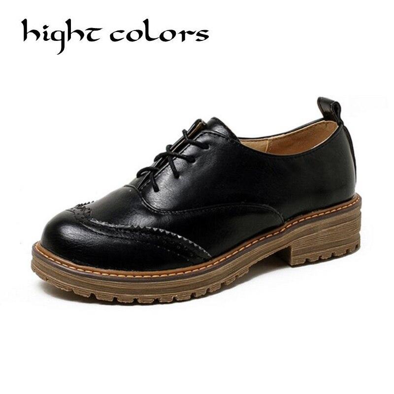 Style britannique mode bout rond Oxford chaussures pour femmes en cuir souple rétro richelieu femmes Oxfords talon plat noir chaussures décontractées
