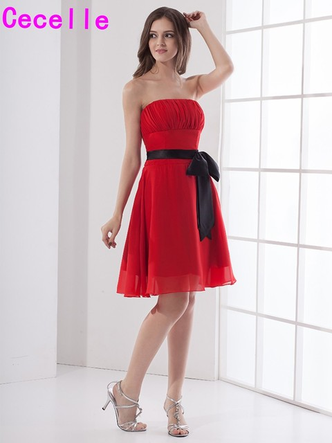 589b5d2d9648 Red Black Short A-line Strapless Knee Length Chiffon Beach Bridesmaid  Dresses Ruched Sashes Wedding