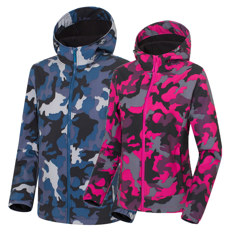 Autumn Winter Outdoor Camouflage Soft shell Waterproof Jacket Windproof Anti-sweat Warm Sports Clothes Men Women Camping Jacket