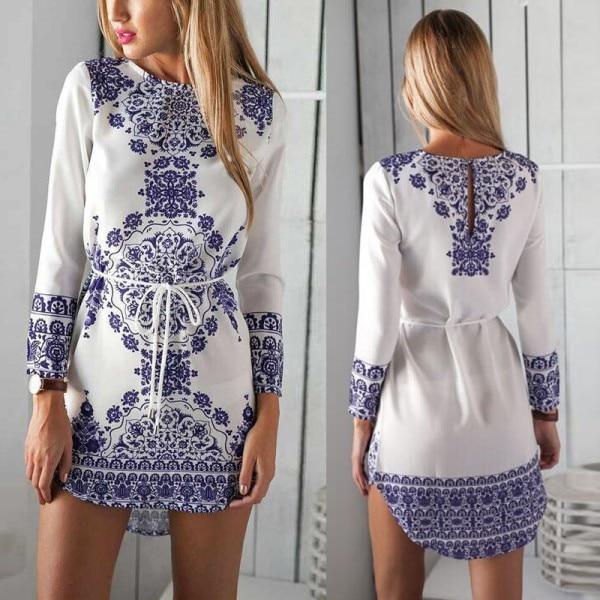 New Fashion Women\'s Floral Mini Dress Casual Summer Beach Outfits ...