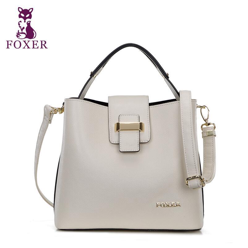 FOXER new high-end luxury fashion leather shoulder bag Messenger bag 100% high q