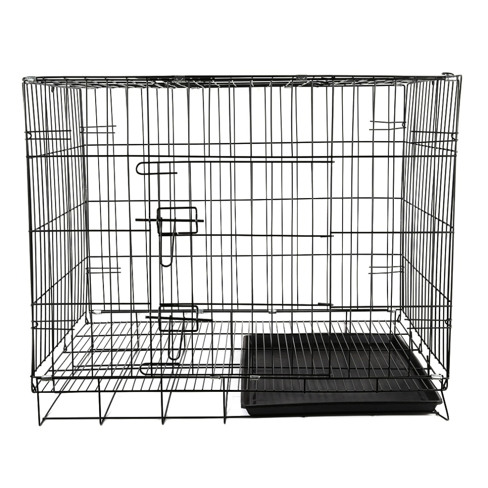 Universal Home Use Dustproof Puppies Cage Black 2 Doors Folding Pets Crate Cage Suitcase Exercising Playpen Four Sizes