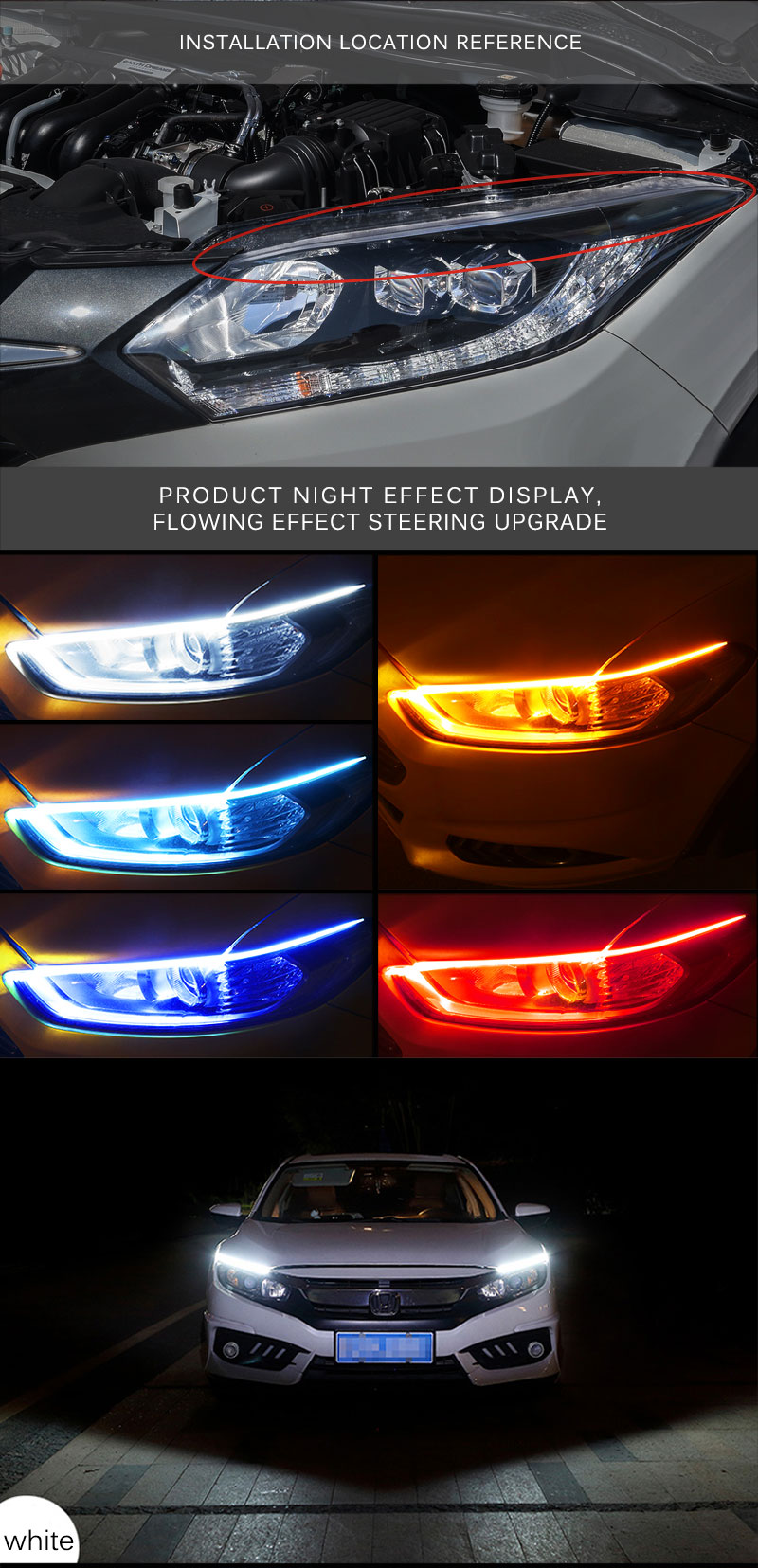 Car Day Light Led DRL Strip Lamp Headlight Daytime Running Lights Flowing (7)