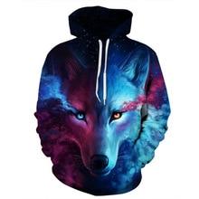 купить Hoodeis Men/Women Hooded Hoodies Cap 3d Sweatshirt Print Space Galaxy Wolf  Hoody Tracksuits Pullover harajuku дешево