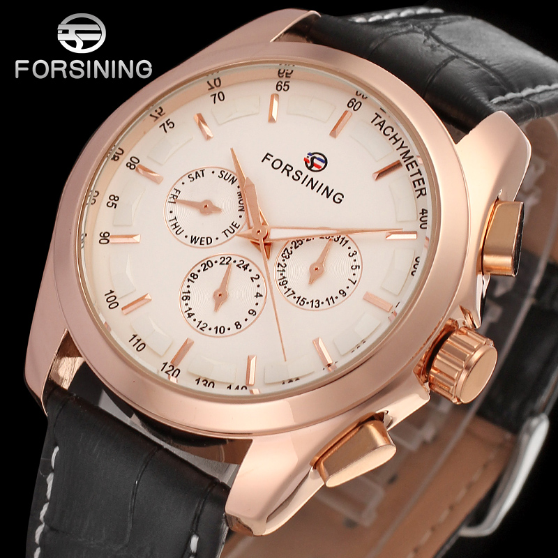 FORSINING FSG6625M3R2 new Automatic fashion dress Men watch tourbillon rose gold wristwatch for men best gift free shipping цена