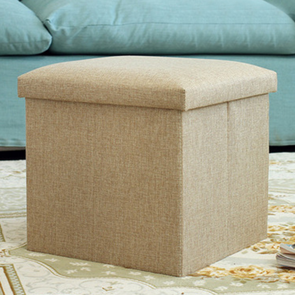 Seat Strong Load Capacity Pouffe Storage Box Cube Shape  Linen Home Office Multifunctional Foldable Folding Stool