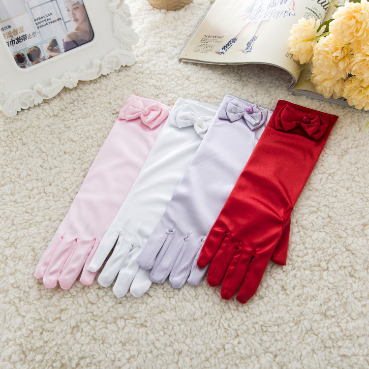 Thin Elastic Childrens Day Professional Dance Gloves Long Lace Bow Tie Accessories Gloves Girls Princess Gloves Kids Gift
