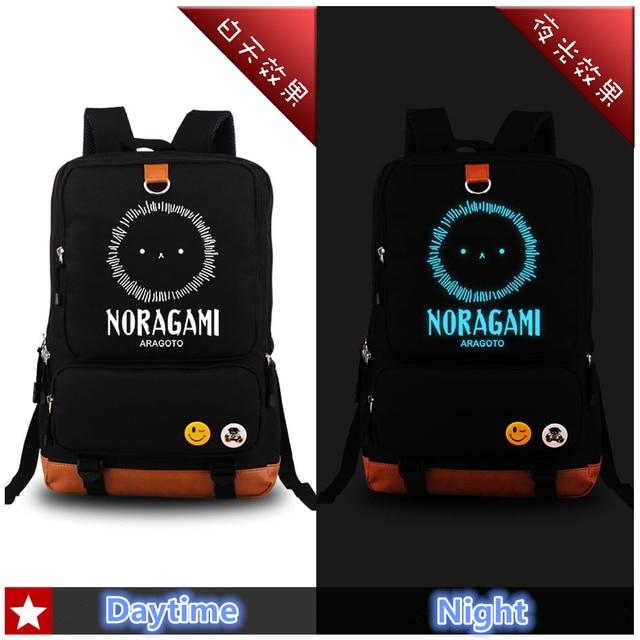 2017 Harajuku Japanese Anime Noragami ARAGOTO Night Fight Blue Luminous Printing Fashion Backpack School Bags for Teenagers