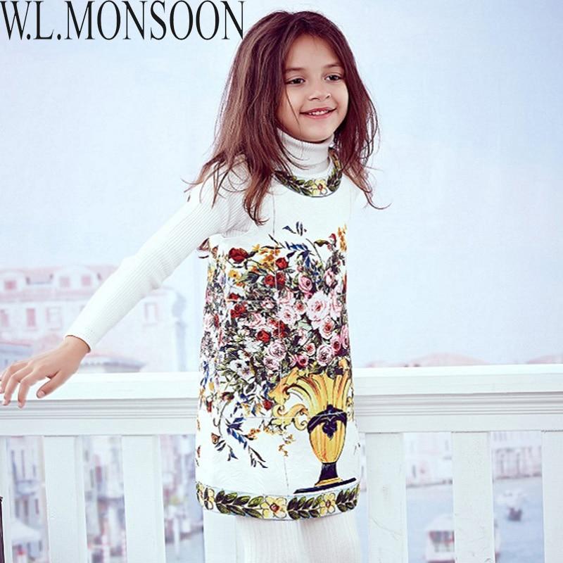 e31fcb849e26 Cheap W L vestido de princesa MONSOON traje Enfant flor estampado bebé  niñas vestido de Invierno 2017