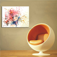 Top Painter Handmade Pop Oil Painting On Canvas Hand-painted Modern Beautiful Girl With Abstract Colorful Hair Oil Paintings