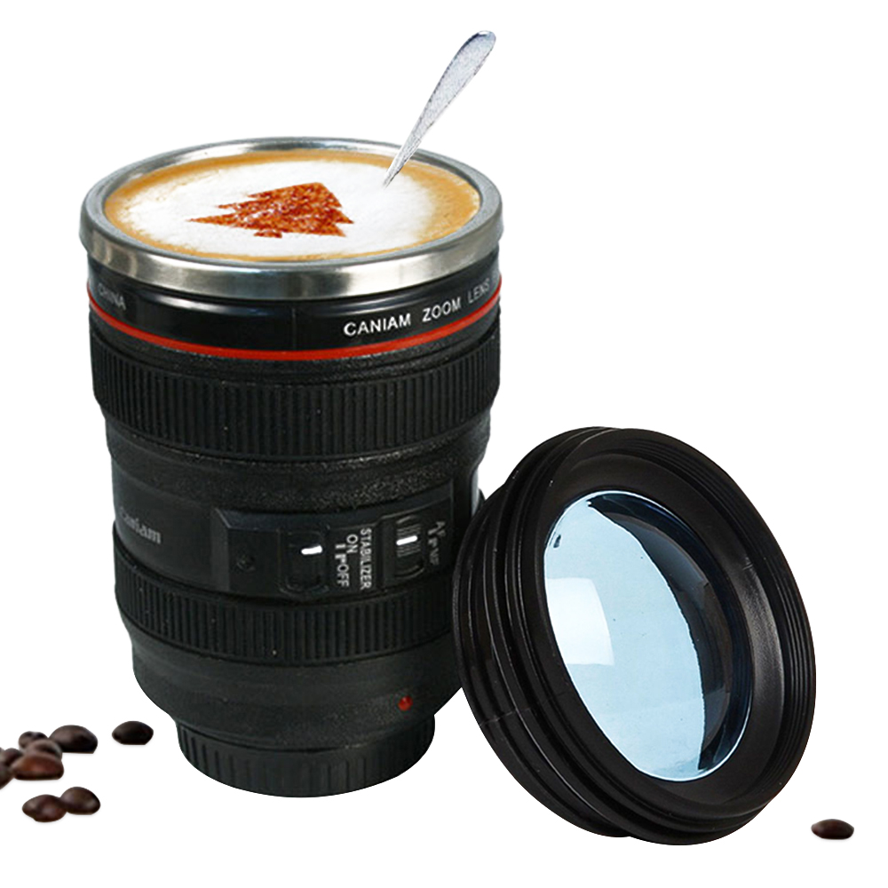 400ml stainless steel camera lens mug with lid new. Black Bedroom Furniture Sets. Home Design Ideas