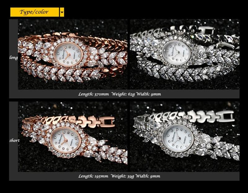 16 50M Waterproof Selberan Gold/Silver Natural Zircon Wrist Watch for Women Luxury Ladies Bracelet Watch Montre Femme Strass 13