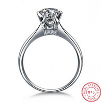 Classic 1CT Luxury Jewelry Pure 100 925 Sterling Silver Solitaire White Round Cut 5A Cubic Zirconia