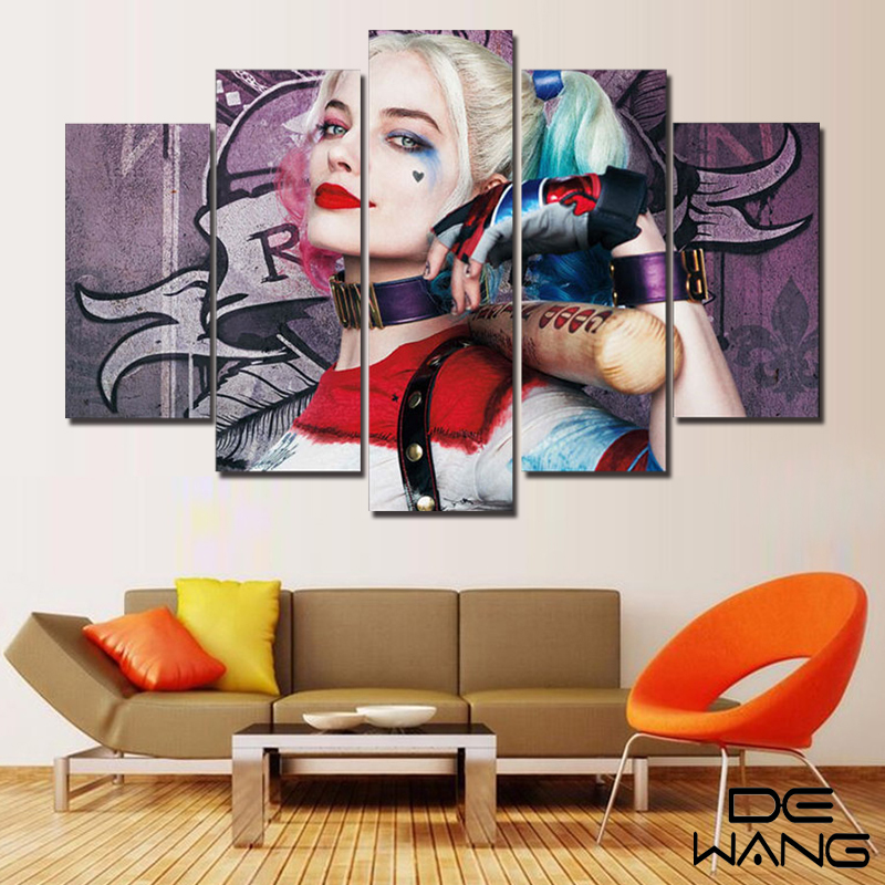 ⊹Pared 5 panel pintura dormitorio Batman lona Harley Quinn lienzo ...