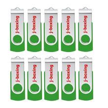 J-boxing Green 32GB USB Flash Drive Metal Swivel Memory Stick Rotating Pen Thumb Storage 1GB 2GB 4GB 8GB 16GB 10PCS/Pack