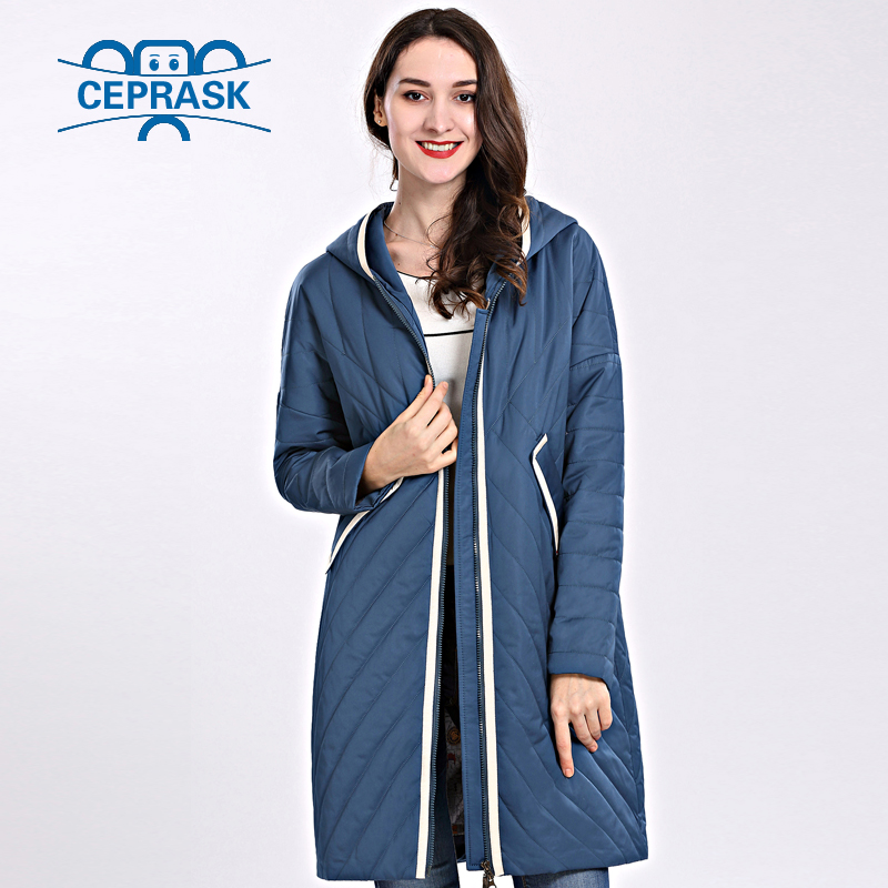 Blue Women Parka brown New Jackets Designs Long Coat Thin 2018 Daek Female Autum Women's High Quality Spring Plus Blue ink Size Hooded Ceprask Windproof orange qSxvwTBv