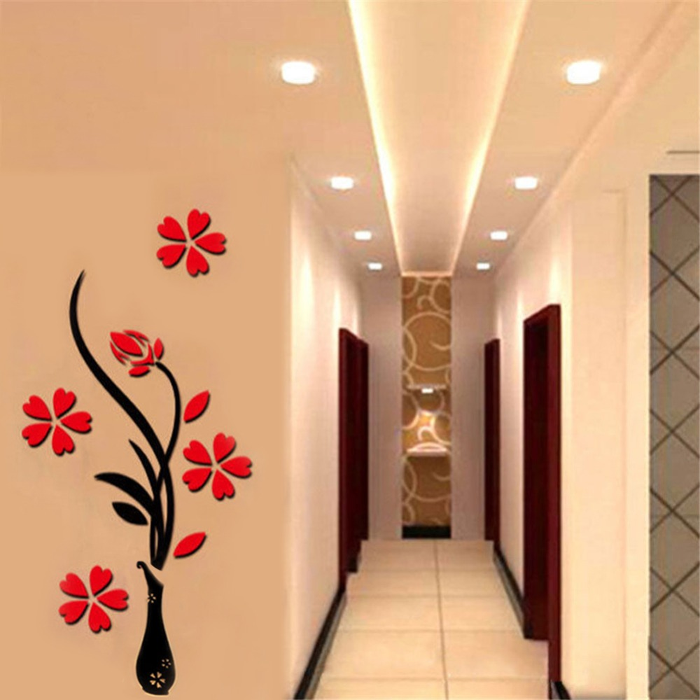 Arcylic Vase Plum Flower Wall Stickers Living Room TV Background 3D ...