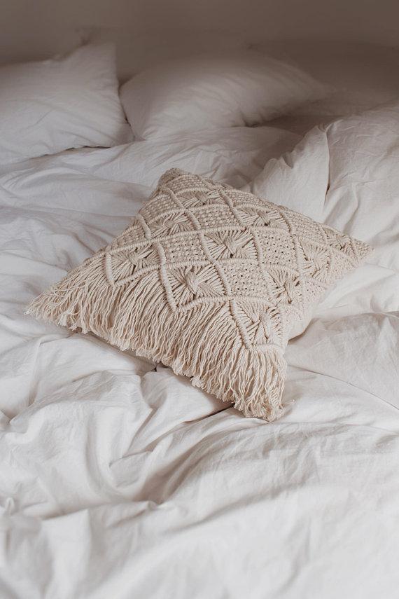 Macramé taie d'oreiller À La Main macrame Boho housse de coussin décoratif taie d'oreiller Personnalisé taille et couleurs