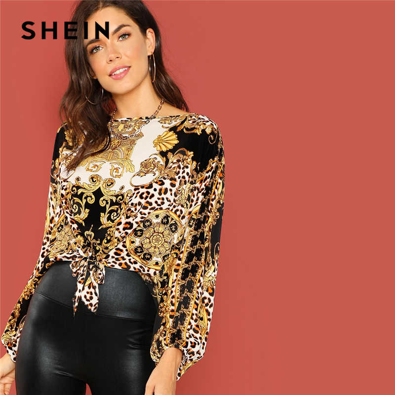 1039bdb11e5d1 SHEIN Multicolor Weekend Casual Bishop Sleeve Knot Hem Three Quarter Length  Sleeve Top Autumn Office Lady
