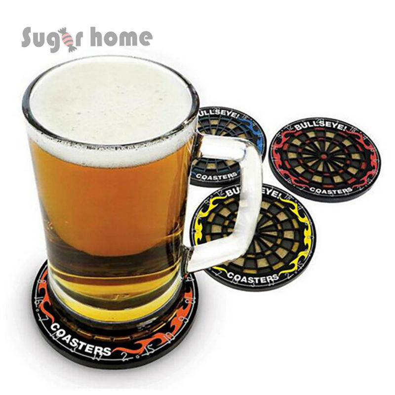 4pcslot Creative Round Darts Plate Coffee Placemat
