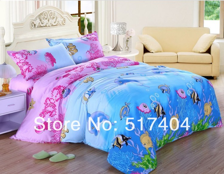 Discount Ocean Dolphin Comforter Set 4pc Children Bedding Sets Queen Full Size Ems Free